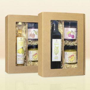 Geschenkboxen aus Karton mit Holzwolle für Geburtstage, Weihnachten und andere Feiertage mit Fruchtaufstrichen, Ölen und Likören
